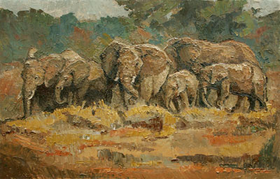 CAT# 3037 Elephant Family Walking oil 20 x 30 Leif Nilsson winter 2010 © $9,000