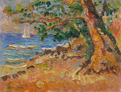Under the Almond Tree with Sail Boats - Lower Bay Beach, Bequia