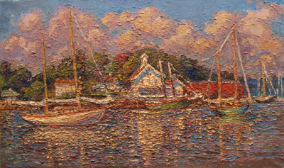 CAT# 3078a  Essex with the Connecticut River Museum and Yankee  oil	24 x 40  Leif Nilsson summer 2010	©  $18,000