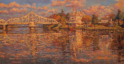 The Goodspeed - autumn morning  oil	21 x 40