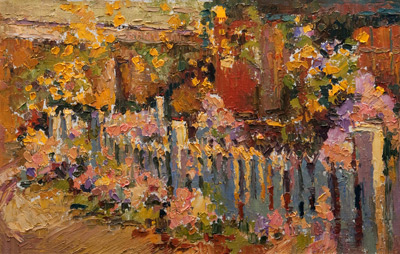 Studio with White Picket Fence - autumn  oil	12 x 18