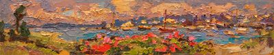 CAT# 3131  Watch Hill Harbour  oil	5 x 24  Leif Nilsson summer 2011	©