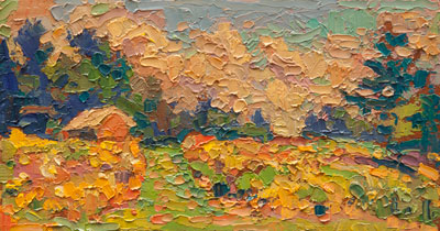 CAT# 3141  Litchfield Hill with Golden Rod  oil	5 x 9  Leif Nilsson autumn 2011	©