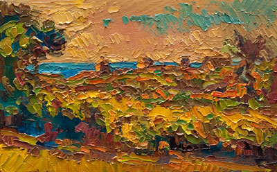 CAT# 3143  Towards Dickens Road - Block Island  oil	5 x 9  Leif Nilsson autumn 2011	©
