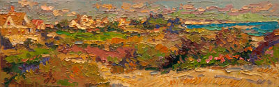 CAT# 3147  Watch Hill from the Ocean House  oil	6 x 18  Leif Nilsson autumn 2011	©