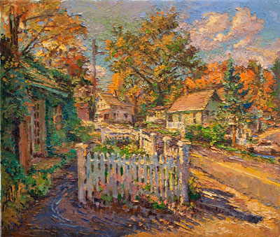 CAT# 3193  The Studio Garden Fence Autumn  oil	24 x 28  Leif Nilsson autumn 2012	©