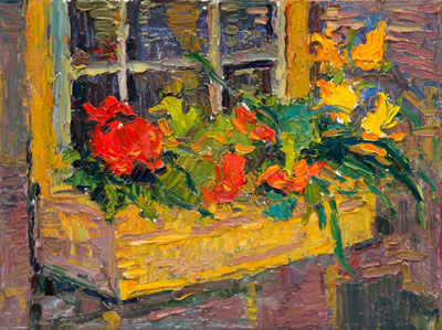 CAT# 3319  Windowbox  oil	9 x 12  Leif Nilsson summer 2015	©