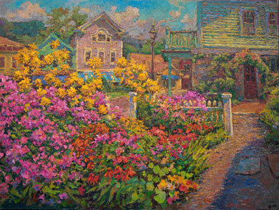 CAT# 3344  Chester Center Yellow Sunflowers and Phlox  oil	36 x 48 inches Leif Nilsson summer 2015	©