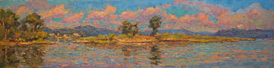 CAT# 3345  North Cove - Essex</B>  oil	12 x 48 inches Leif Nilsson summer 2015	&copy;