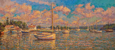 CAT# 3403  Catboat in Essex - Summer Morning  oil	24 x 54 inches Leif Nilsson summer 2016	©