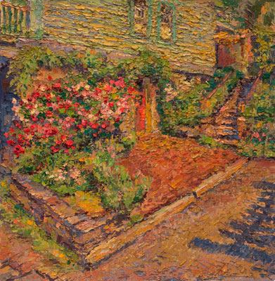 CAT# 3439  The Rose Garden - afternoon  oil	18 x 18 inches Leif Nilsson Spring 2017	©