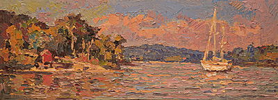 CAT# 3475  Hamburg Cove  oil	9 x 24	inches  Leif Nilsson Autumn 2017	©