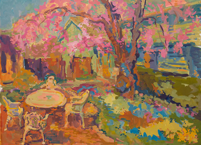 CAT# 3506  Backyard Garden  gouache	22 x 30 inches Leif Nilsson spring 2018	©