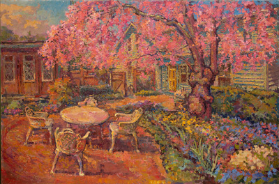 CAT# 3508  Backyard Cherry Tree Garden  oil	36 x 54  Leif Nilsson spring 2018	©