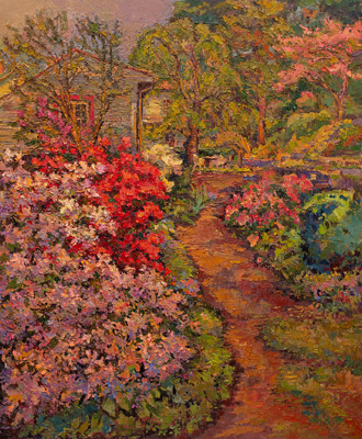 CAT# 3509  Backyard Azalea Garden  oil	48 x 40  Leif Nilsson spring 2018	©