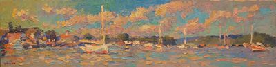 CAT# 3534  Essex from The Mooring Field  oil	6 x 24  Leif Nilsson summer 2018	©