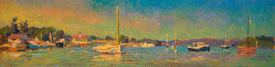 CAT# 3539  Essex from The Mooring Field  oil	12 x 48  Leif Nilsson summer 2018	©