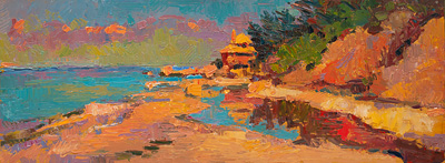CAT# 3575  Reeves Beach, Long Island, NY  oil	9 x 24 inches Leif Nilsson summer 2018©
