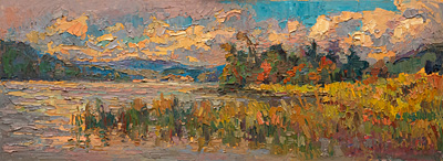 CAT# 3579  Sea Ray Bar - autumn afternoon  oil	9 x 24	inches Leif Nilsson autumn 2018	©
