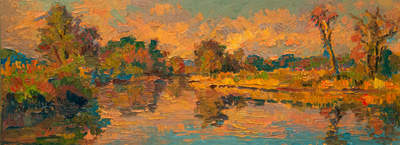 CAT# 3588  Seldens Creek - rising autumnal tide  oil	9 x 24	inches Leif Nilsson autumn 2018	©